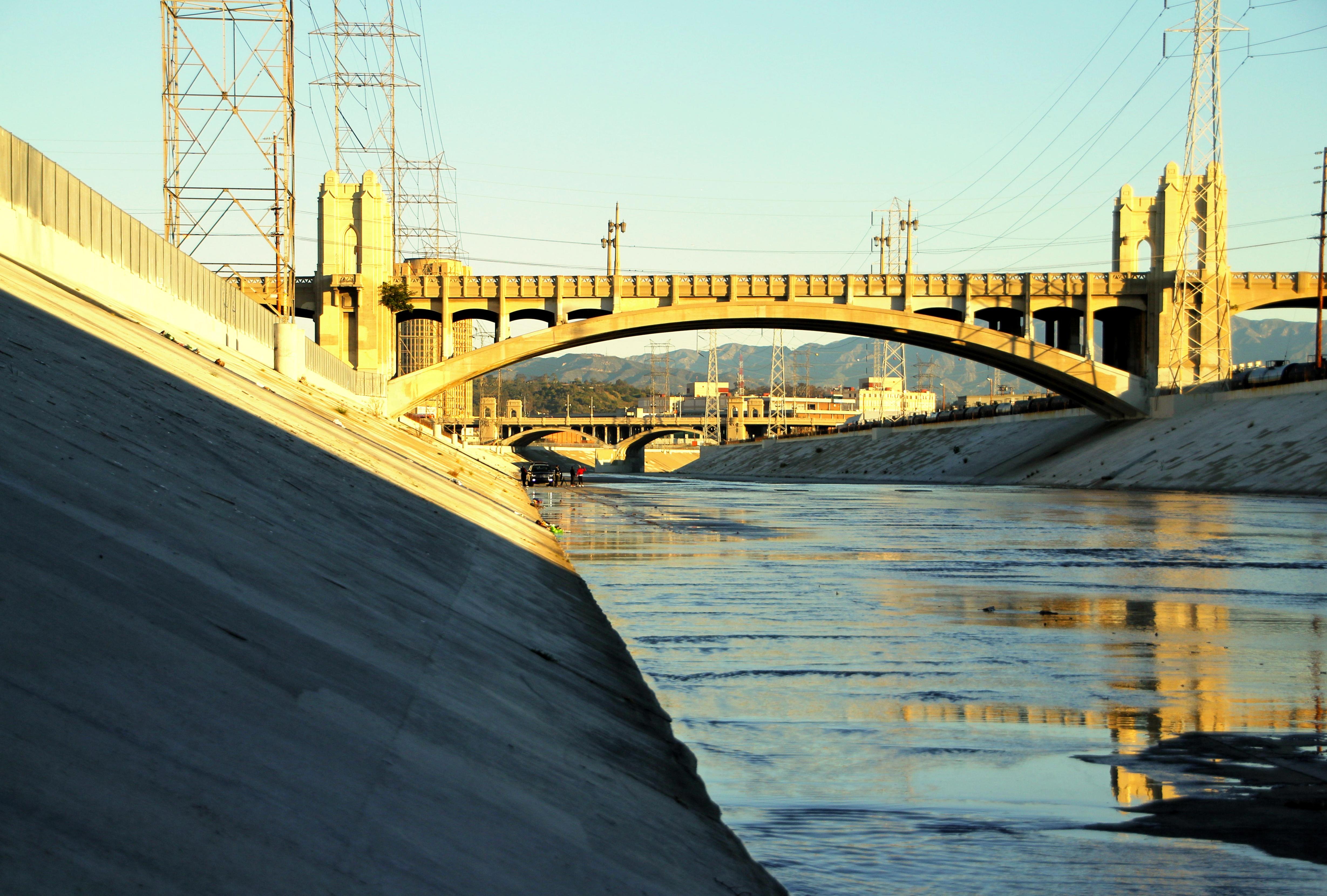 downtown la bridge in golden morning light